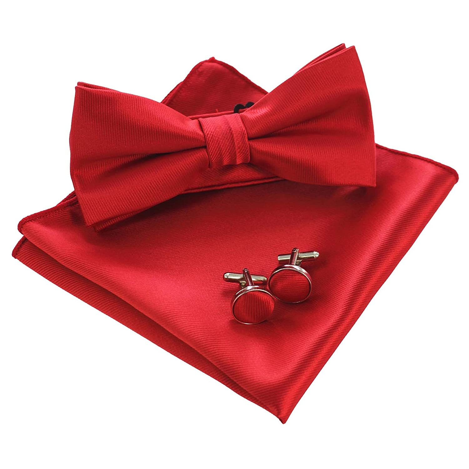 JEMYGINS Mens Solid Color Pre-tied Silk Bow Tie and Pocket Square Cufflink Set