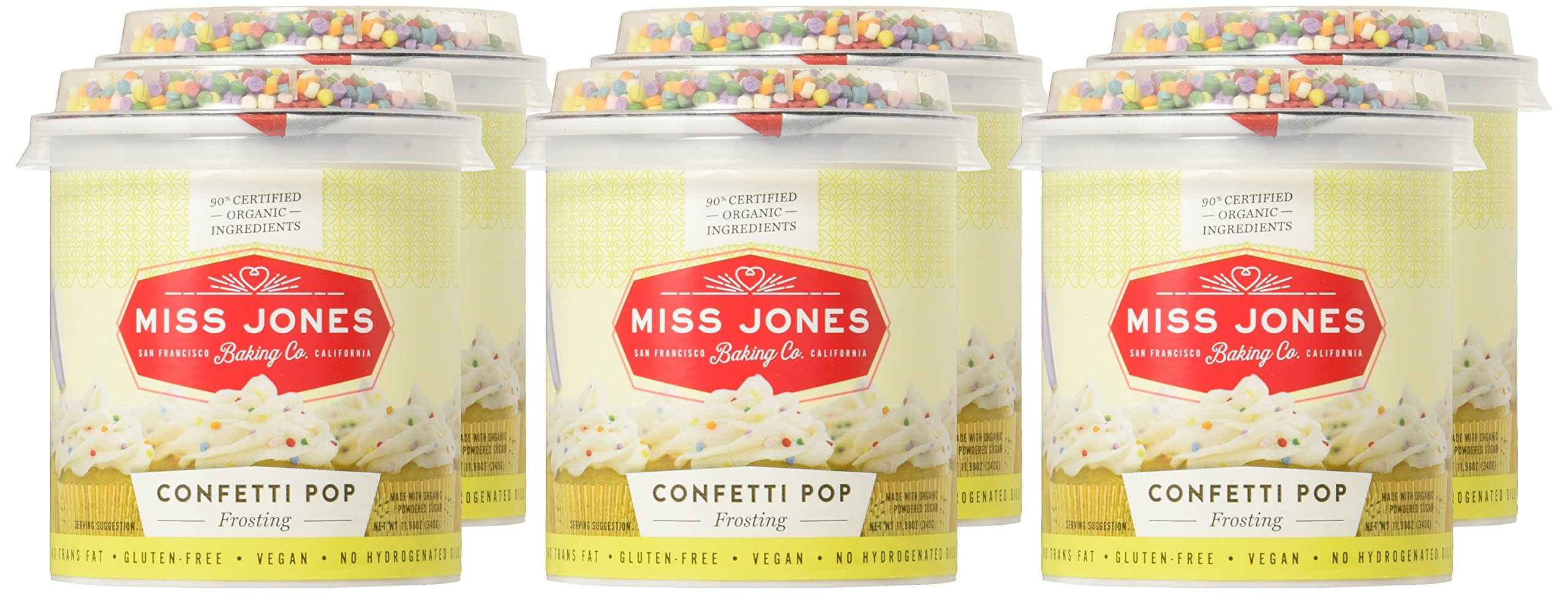 Miss Jones Baking 90% Organic Birthday Buttercream Frosting, Perfect for Icing and Decorating, Vegan-Friendly: Confetti Pop (Pack of 6) by Miss Jones Baking (Image #2)