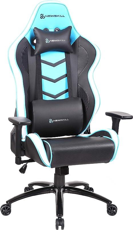 Newskill Kaidan - Silla gaming profesional reforzada con estructura de metal (respaldo con mecanismo de mariposa reclinable en 180 grados, reposabrazos 3D) - Color Azul: Amazon.es: Informática