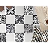 Feuille amovible décorative carreaux sol | Mosaïque revêtement de sol - Moderniser baignoire | Motif Black n White | 20x20 cm - 9 pièces (3x3)