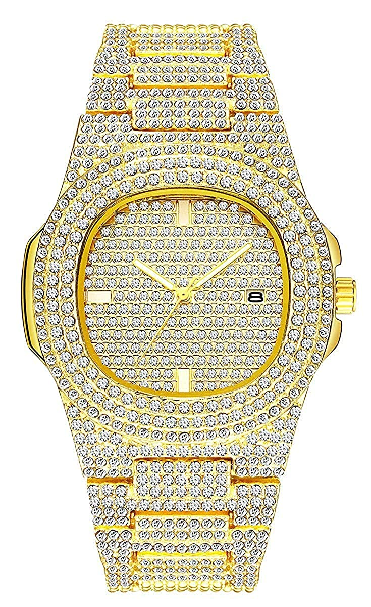 Fanmis Luxury Round Rhinestone Stainless Steel Watches Unisex Classic Analog Display Japanese Quartz Watch