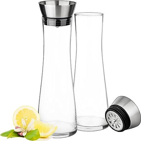 Cristal Jarra 1 litro de hecho a mano cristal, con Tapa de acero ...