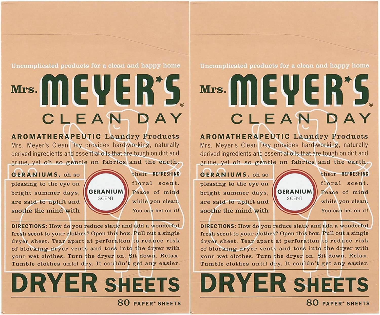 Mrs. Meyer's Clean Day Dryer Sheets - Geranium - 80 ct - 2 pk