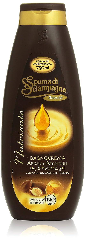 """Spuma Di Sciampagna: """"Bagnocrema Nutriente Argan e Patchouli"""" Bath Cream, with Organic Argan Oil 25.36 Fluid Ounces (750ml) Bottle [ Italian Import ]"""