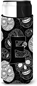 Caroline's Treasures CJ2008-EMUK Letter E Day of the Dead Skulls Black Ultra Beverage Insulators for slim cans, Slim Can, multicolor