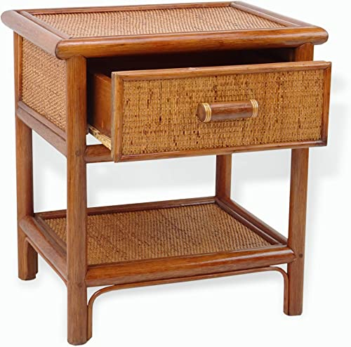 Night Table w/ 1 Drawer Natural Rattan Handmade