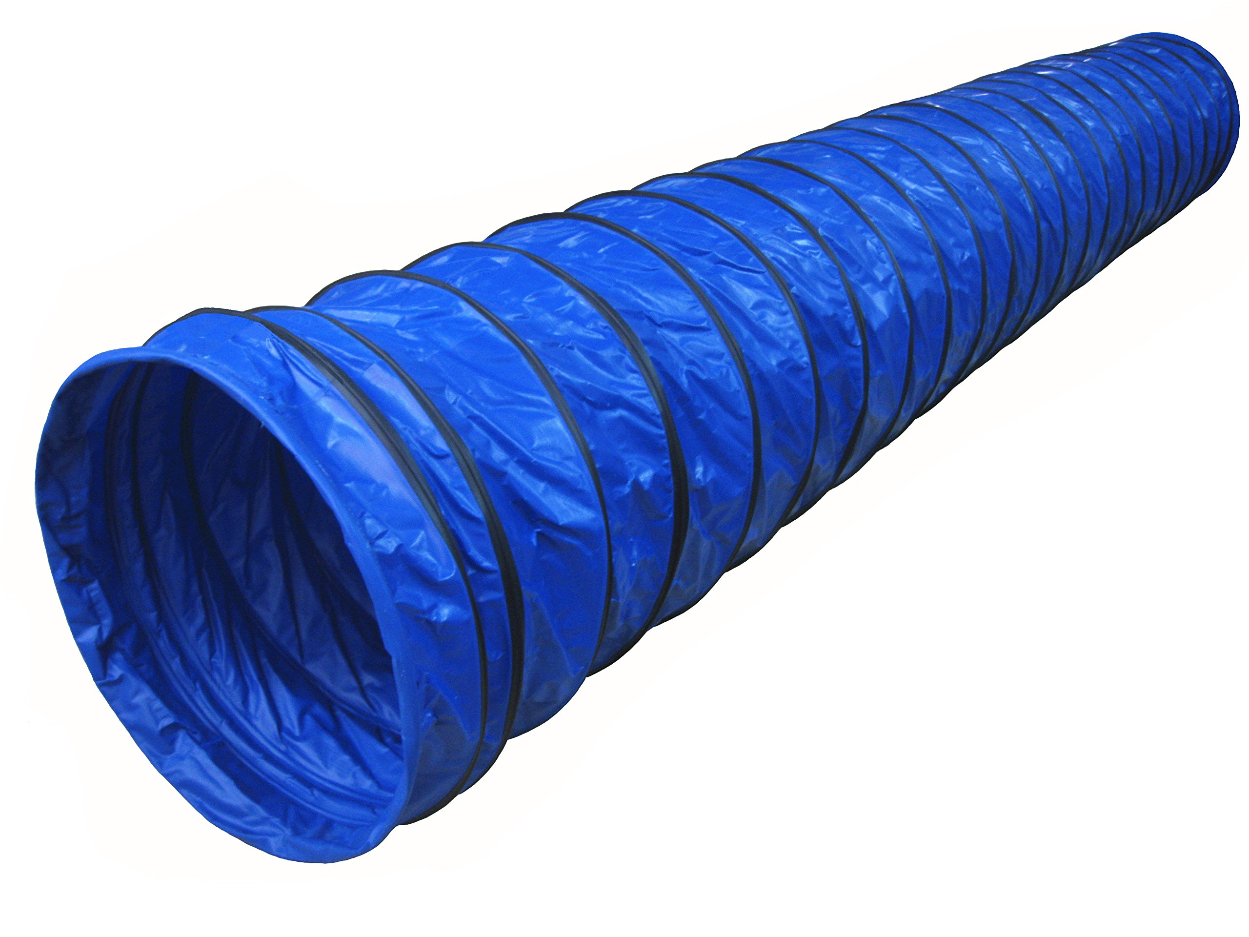 Cool Runners Lightweight 470GSM PVC Round Dog Agility Tunnel, 8'' Pitch, 177 by 24-Inch, Blue