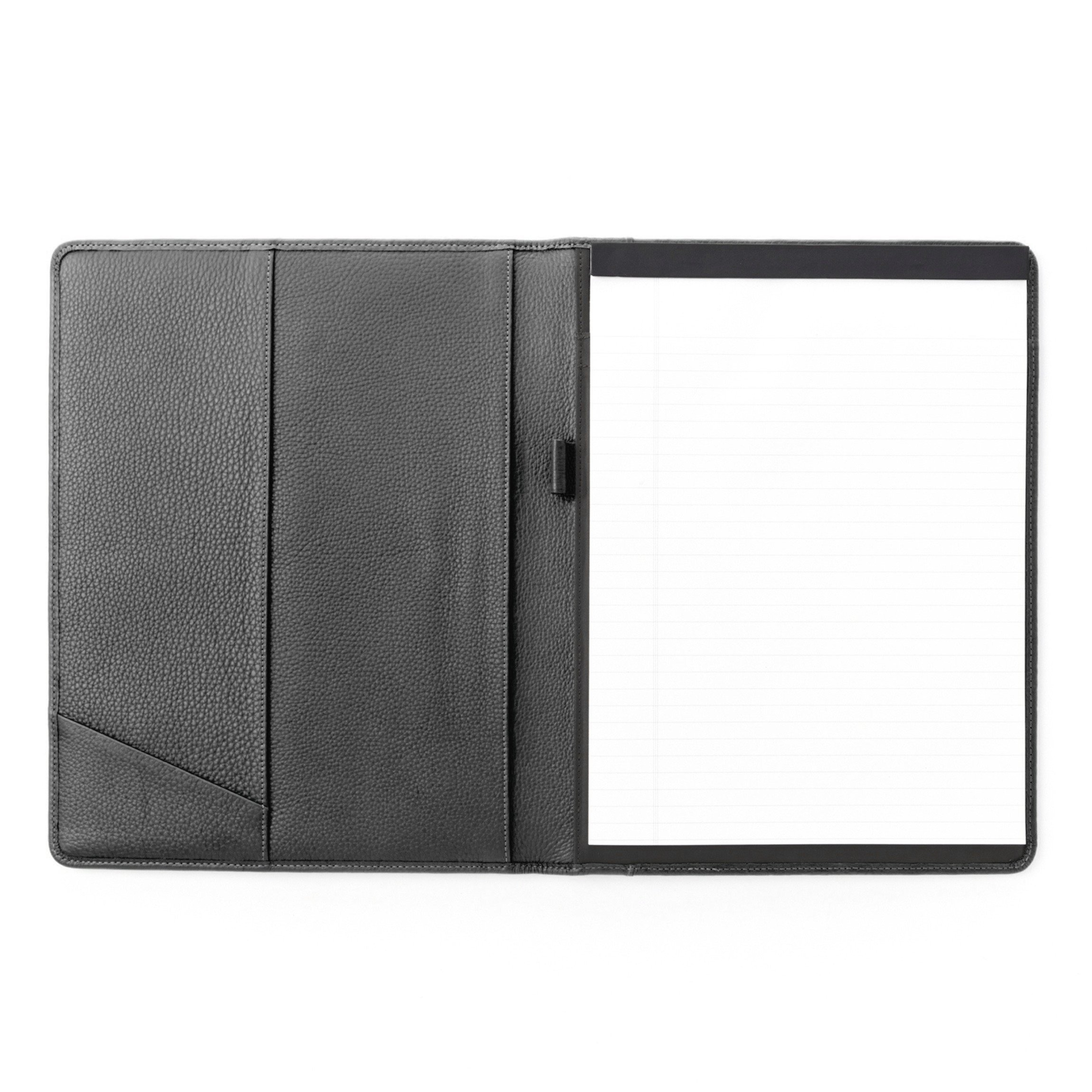Leatherlogy Standard Padfolio with Pen Loop - Full Grain Leather Leather - Charcoal (gray)