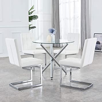 Pleasing Gizza Nova Clear Small Round Glass Dining Table And 4 White Chairs With Button Tufted Leather Seat Padded Kitchen Room Office Chairs Home Deco Machost Co Dining Chair Design Ideas Machostcouk