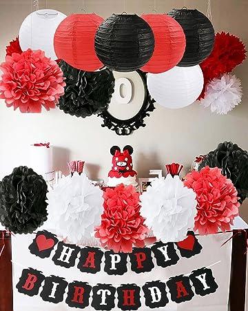 Mickey Mouse Decoraciones para fiestas de cumpleaños Blanco Rojo Decoraciones para fiestas de cumpleaños Minnie Mouse Suministros para fiestas Papel ...