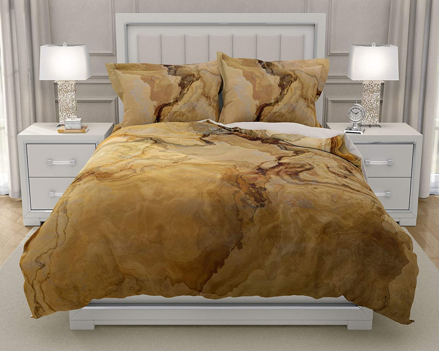 Image of King or Queen 3 pc Duvet Cover Set with abstract art, Earthbound