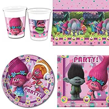DreamWorks BPWFA 65 Trolls - 16 vasos, 16 platos de papel/16 servilletas/1 funda para mesa