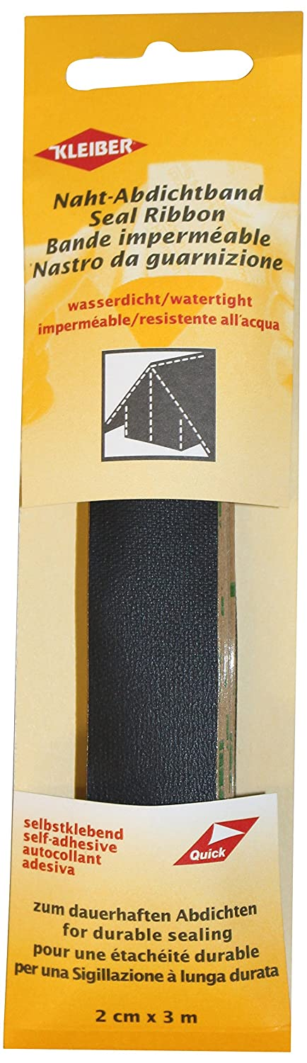 Kleiber 3 m x 2 cm Self Adhesive Waterproof Fabric Seam Repair Tape for Tents Coats Umbrellas Etcetera, Black by Kleiber 432-27