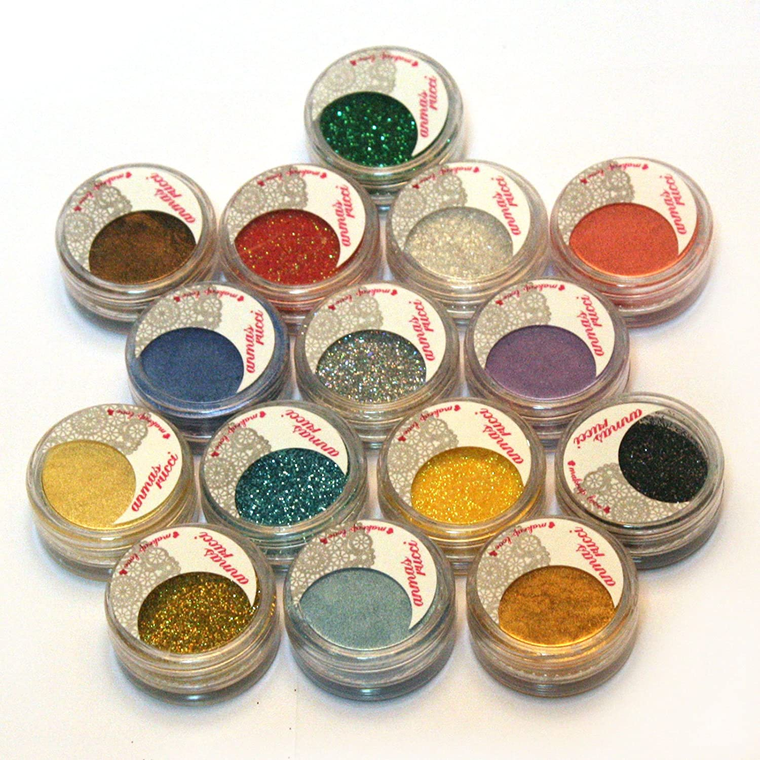 15 Warm Color Glitter Shimmer Pearl Loose Eyeshadow Pigments Mineral Eye Shadow Dust Powder Makeup Party Cosmetic Set #A