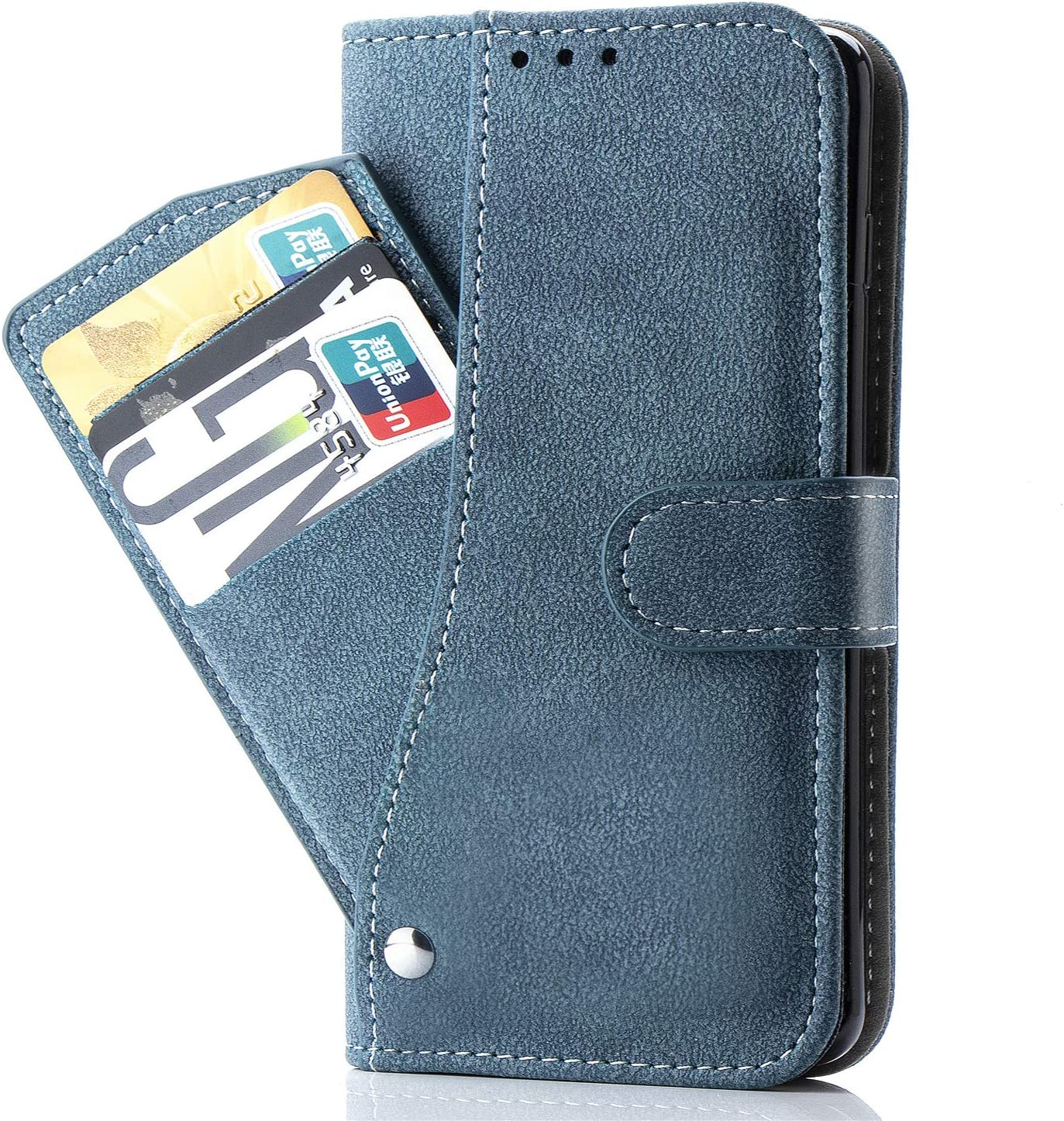 LG G7 Case,LG G7 ThinQ Case,Luxury Leather Wallet Phone Cases with Credit Card Holder Slim Kickstand Stand Flip Folio Protective Cover for LG G7 ThinQ Women Girls Men Blue