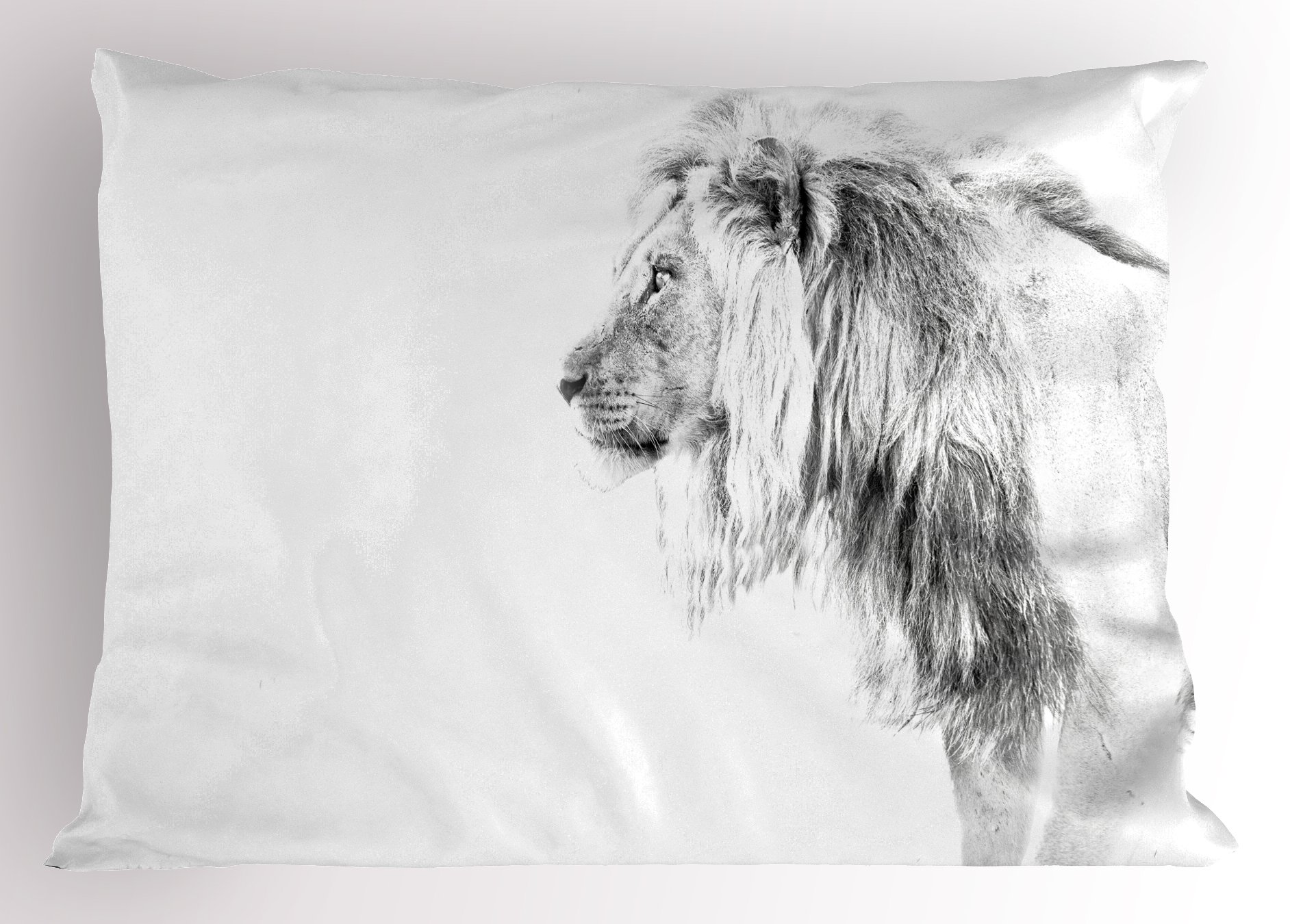 Lunarable Lion Pillow Sham, Black and White Hand Drawn Lion Surveying for Prey Majestic Animal Royal Beast King, Decorative Standard King Size Printed Pillowcase, 36 X 20 inches, Black White