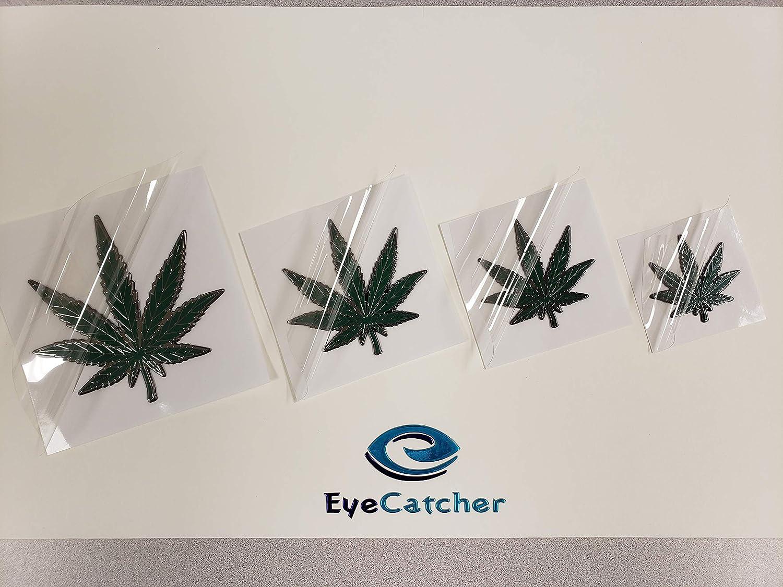 EyeCatcher Weed Pot Leaf Marijuana Sticker Emblem Badge Decal Satin Green 4 Pack