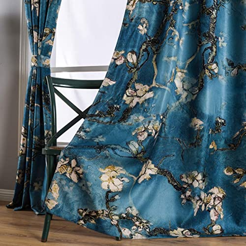 Taisier Home Chinese Style Plum Blossom Curtain Blue Artistic Print Curtains 95 Inches Long