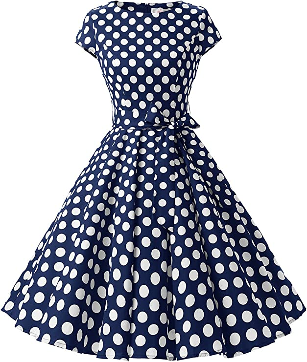 TALLA L. Dressystar Vintage 1950s Polka Dot and Solid Color Prom Dresses Cap-Sleeve Navy White Dot B L