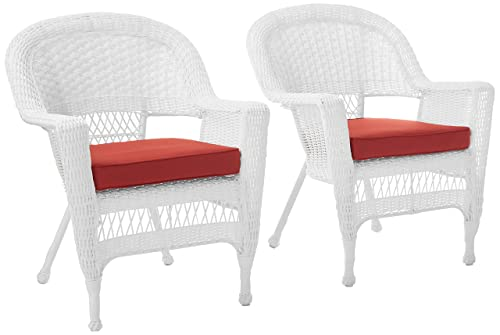Jeco Wicker Chair with Red Cushion, Set of 2, White W00206-