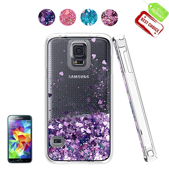 info for 70177 a8739 S5 Case,Galaxy S5 Clear Case with HD Screen Protector, Sparkle Dynamic  Quicksand Heart Liquid Glitter Clear Soft TPU Protective Back Cute Girls  Phone ...