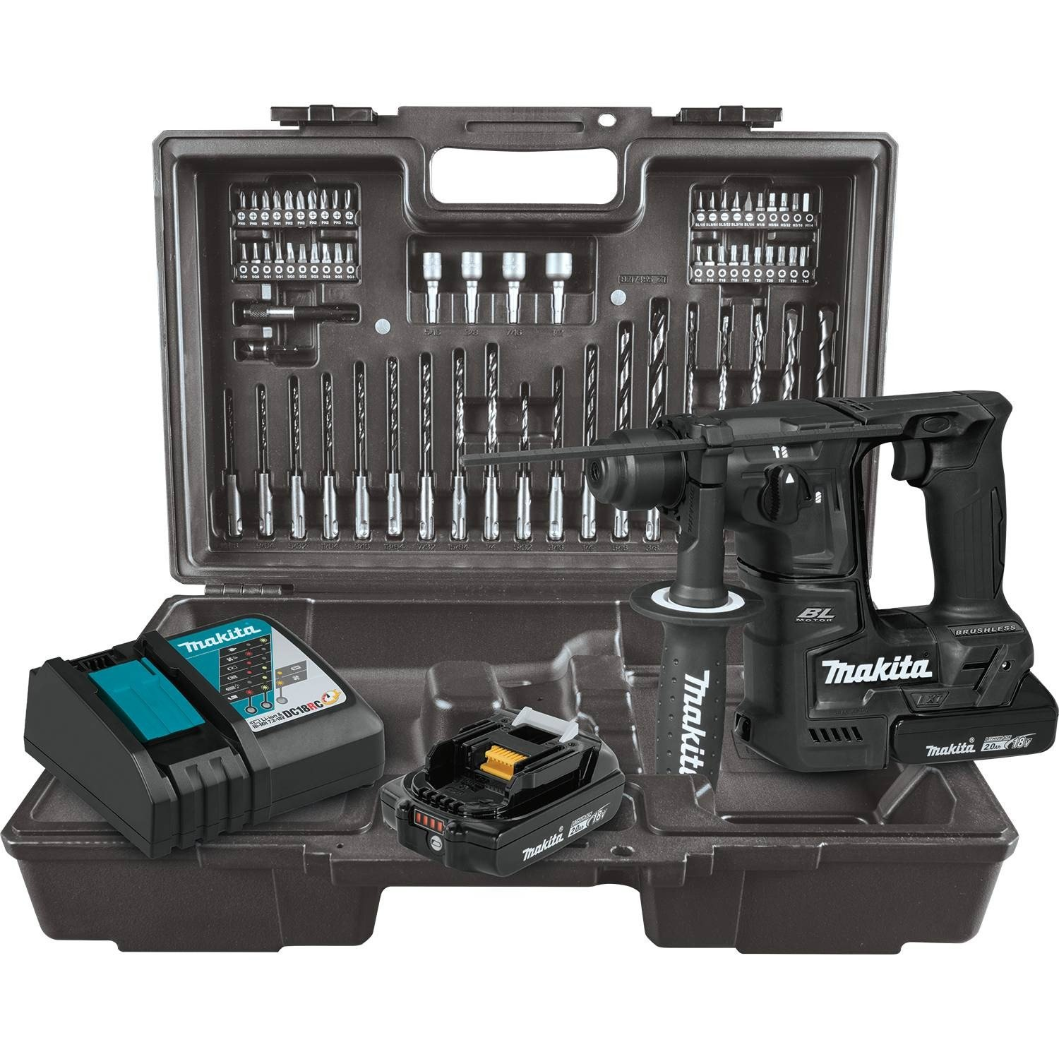 Makita XRH06RBX 18V LXT Lithium-Ion Sub-Compact Brushless Cordless 11 16 Rotary Hammer Kit, accepts SDS-PLUS bits, 65 Pc. Accessory Set 2.0 Ah