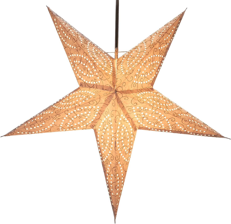 Guru-Shop Plegable Adviento Estrella de Papel Starlight Monocromo Blanco Estrellas de Papel Estrella de Navidad Demian Nature 60x60x20 cm