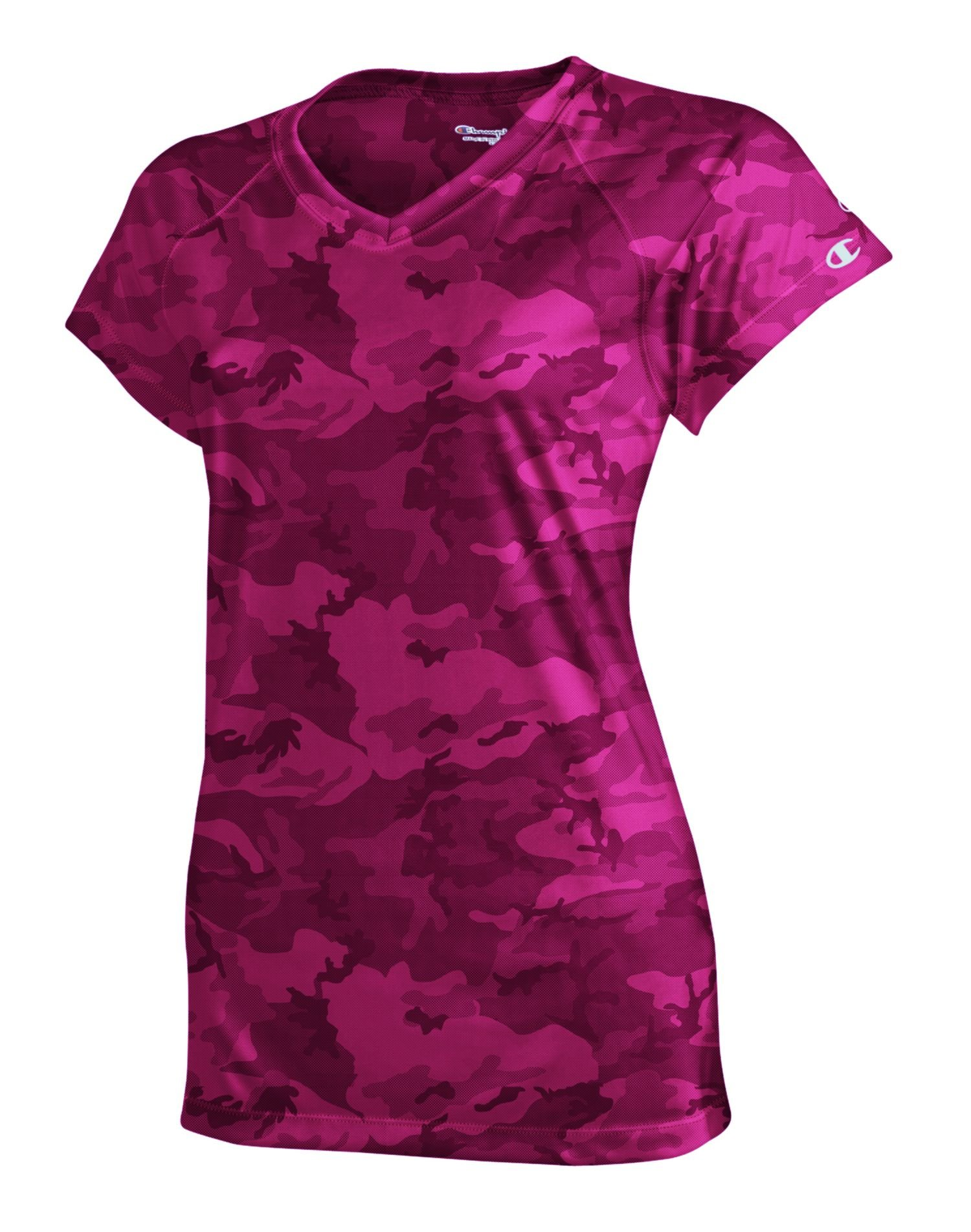 Champion Women's Essential Double Dry V-Neck T-Shirt_Wow Pink Camo_X-Small