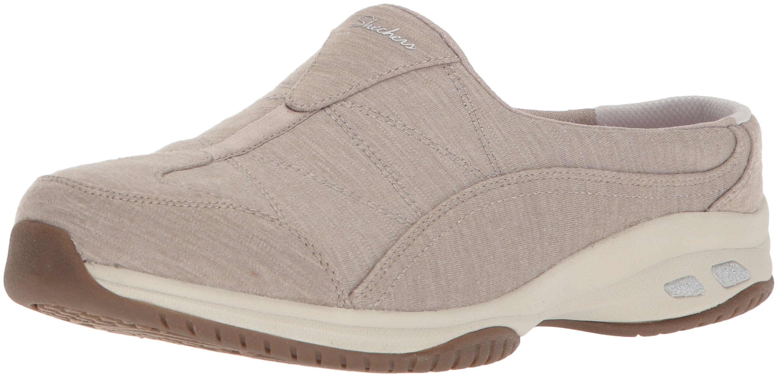 Skechers Women's Commute-Carpool-Heathered Deco Stitch Mule, Taupe, 10 W US