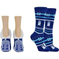 Doctor Who Socks Merchandise Gifts (2 Pair) - (Women) Dr Who Tardis Cosplay Lowcut Crew Socks - Fits Shoe Size: 4-10 (Ladies)