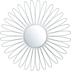Your Home and Beyond Metal Wall Hanging Modern Contemporary Round Large Silver Starburst Sunburst Mirror 36x36 inches (Addison Collection)