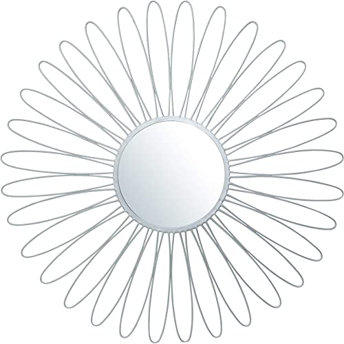 Your Home and Beyond Metal Wall Hanging Modern Contemporary Round Large Silver Starburst Sunburst Mirror 36×36 inches Addison Collection