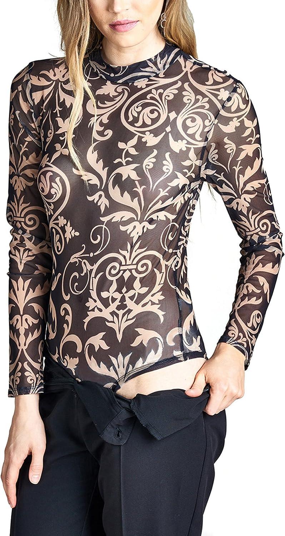 BOHENY Womens Long Sleeve Mock Neck Printed Sheer Mesh Bodysuit
