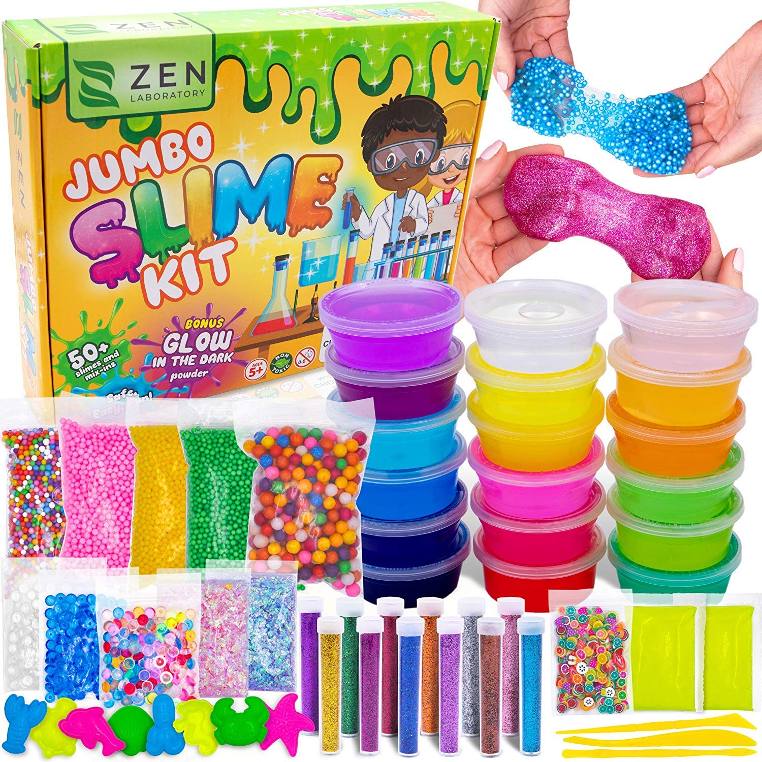 DIY Slime Kit Toy for Kids Girls Boys Ages 5-12, Glow in The Dark Glitter Slime Making Kit - Slime Supplies w/ Foam Beads Balls, 18 Mystery Box Containers Filled Crystal Powder Slime