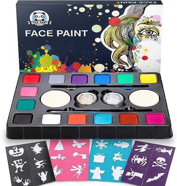 Dookey 14 Colores Pinturas Faciales y Corporales, Pinturas Cara para Niños No Toxica, Maquillaje al Agua Adecuado para Halloween/Fiestas/Cosplay