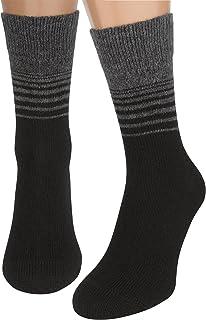 AIR SOCKS Calcetines Negros Mujer y Hombre, 2 Pares Calcetines Tobilleros Senderismo de Lana Merino