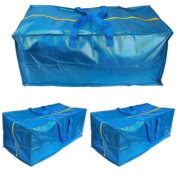 LUTER Bolsa Almacenaje Ropa Grande Plastico Almacenaje Juguetes Bolsa Viaje Bolsa de Almacenamiento para IKEA Frakta Edredon Almohadas (3 Piezas): ...