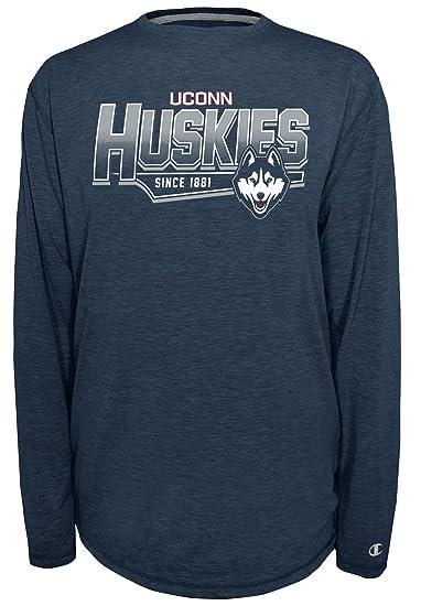 b606eaaf743a Champion NCAA Connecticut Huskies Men's Earn It Long Sleeve Tee, Small,  Sports Navy Heather