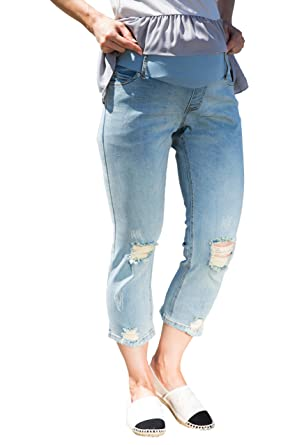 ad0070eb78c5c Sweet Mommy Maternity Distressed Cropped Jeans for Pregnant Women ...