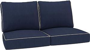 Creative Living Refresh Patio Loveseat Deep Seating 24x24 Outdoor Replacement Cushions, Sisal Indigo