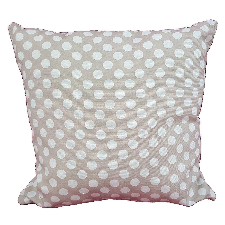 Cuscino salotto beige pois bianco 60x60 arredo arredamento casa divano letto in cotone, Euronovità Srl- MADE IN ITALY Euronovità Srl- MADE IN ITALY