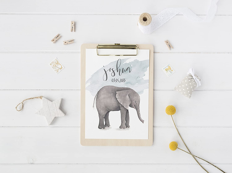 3 Personalised Nursery Name Prints Cute Flower Elephant Baby Room Wall Art Decor