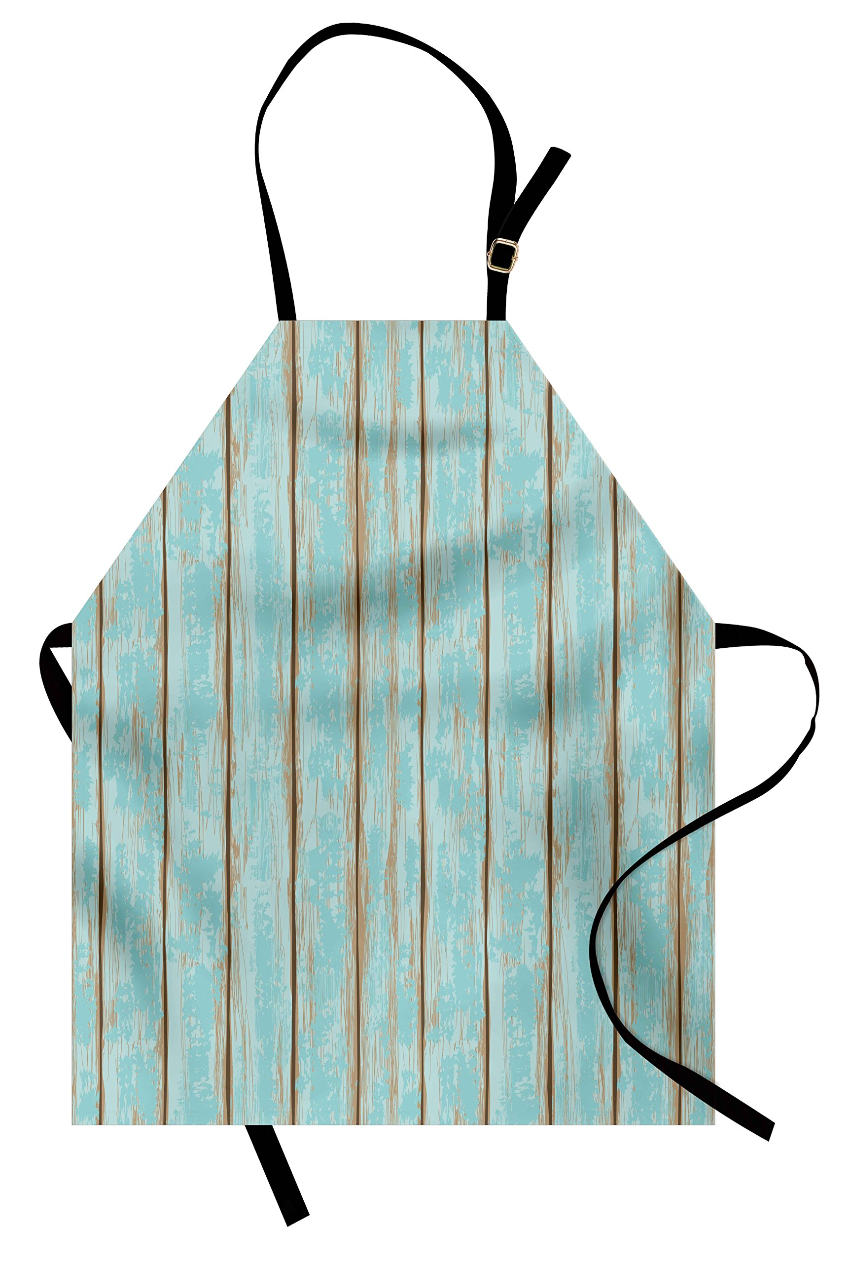 Lunarable Wood Print Apron, Old Fashioned Weathered Rustic Planks Summer Cottage Beach Coastal Theme, Unisex Kitchen Bib Apron with Adjustable Neck for Cooking Baking Gardening, Pale Blue Tan