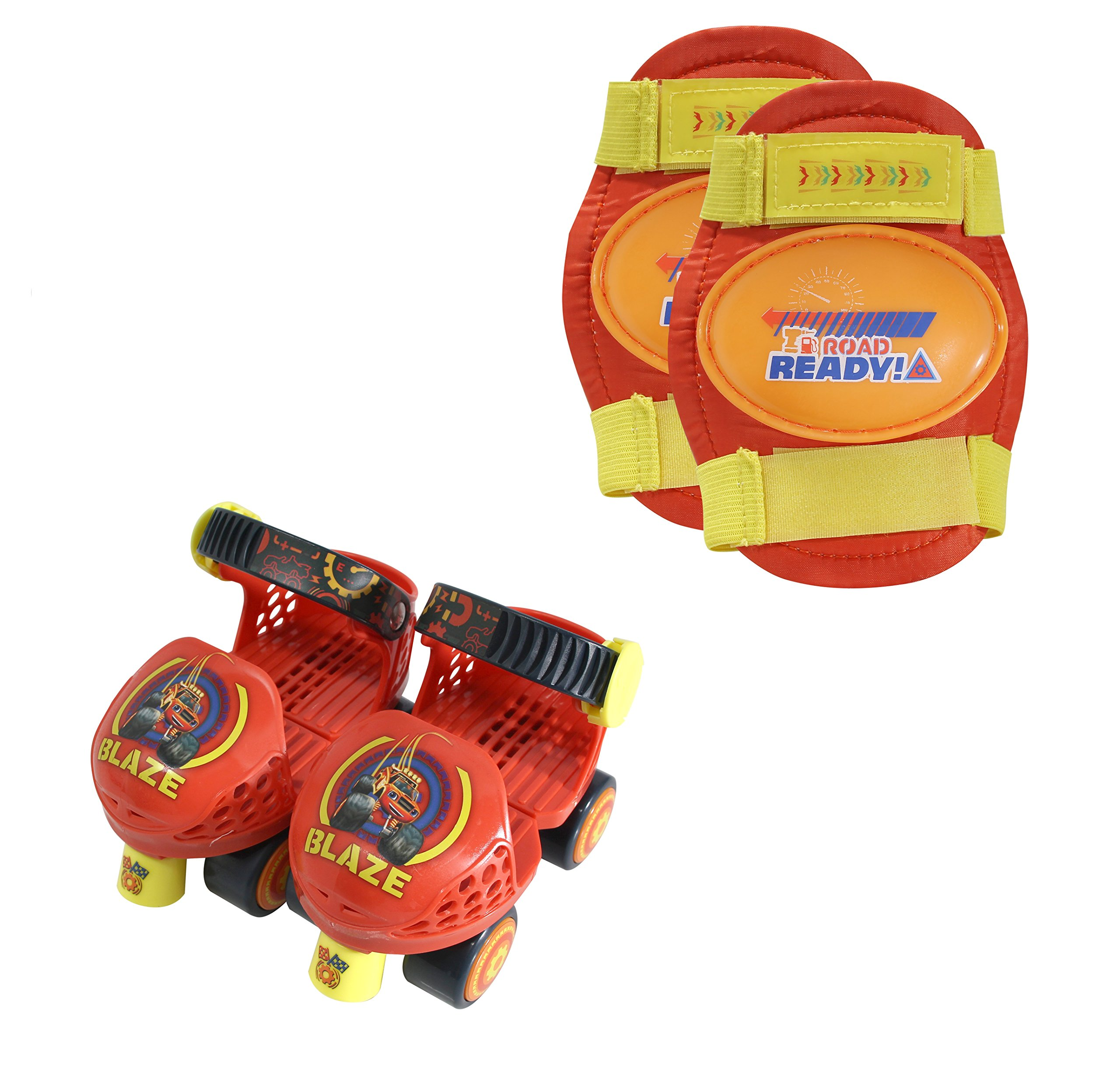 PlayWheels Blaze and the Monster Machines Kids Rollerskate Junior Size 6-12 with Knee Pads