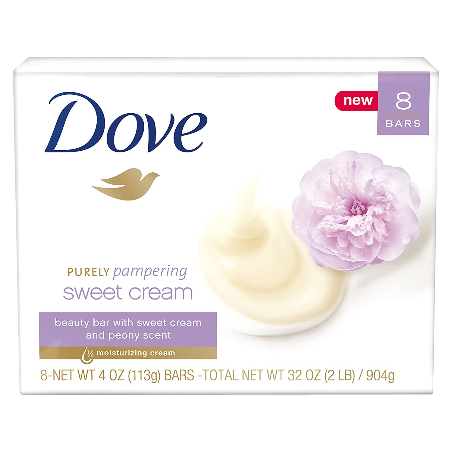 Dove Purely Pampering Beauty Bar, Sweet Cream & Peony, 4 oz, 8 Bar