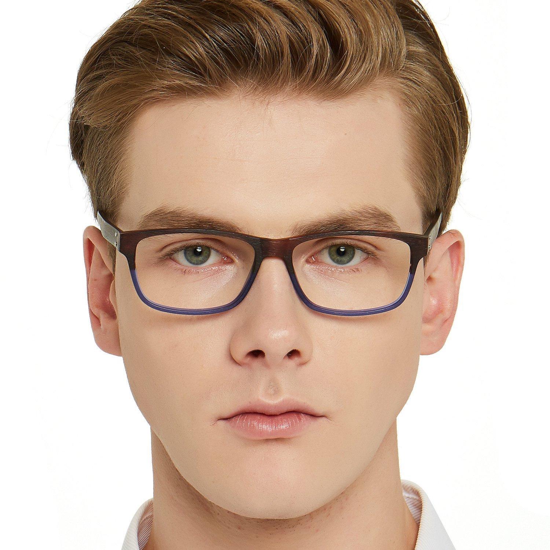 270938cc00 OCCI CHIARI Women Men Square Imitation Wood Grain Optical Eyewear Frame  (Brown Blue