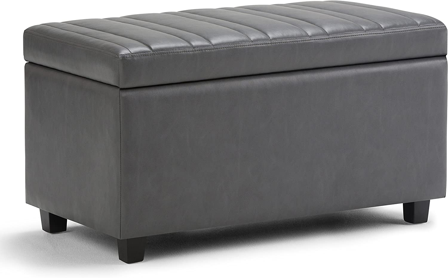 Simpli Home AXCOT-259-G Darcy 34 inch Wide ContemporaryStorage Ottoman in Stone Grey Faux Leather