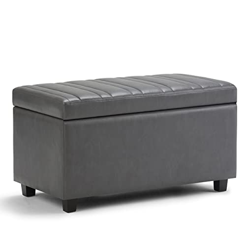 Simpli Home AXCOT-259-G Darcy 34 inch Wide Contemporary Rectangle Storage Ottoman Bench in Stone Grey Faux Leather