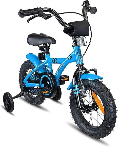 Prometheus Bicicleta Infantil | 12 Pulgadas | niño y niña | Azul Negro | A Partir de 3 años | con ruedines y Freno de contrapedal | 12