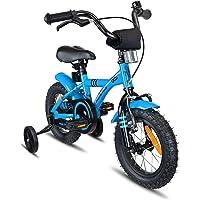 Prometheus vélo Enfant 12 Pouces pour garçons et Fille en Bleu et Noir à partir de 3 Ans avec stabilisateurs et rétropédalage - BMX 12 Pouces modèle 2019